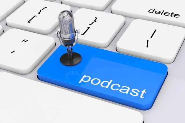 Online Media Concept. Blue Podcast Button with Microphone extreme closeup. 3d Rendering