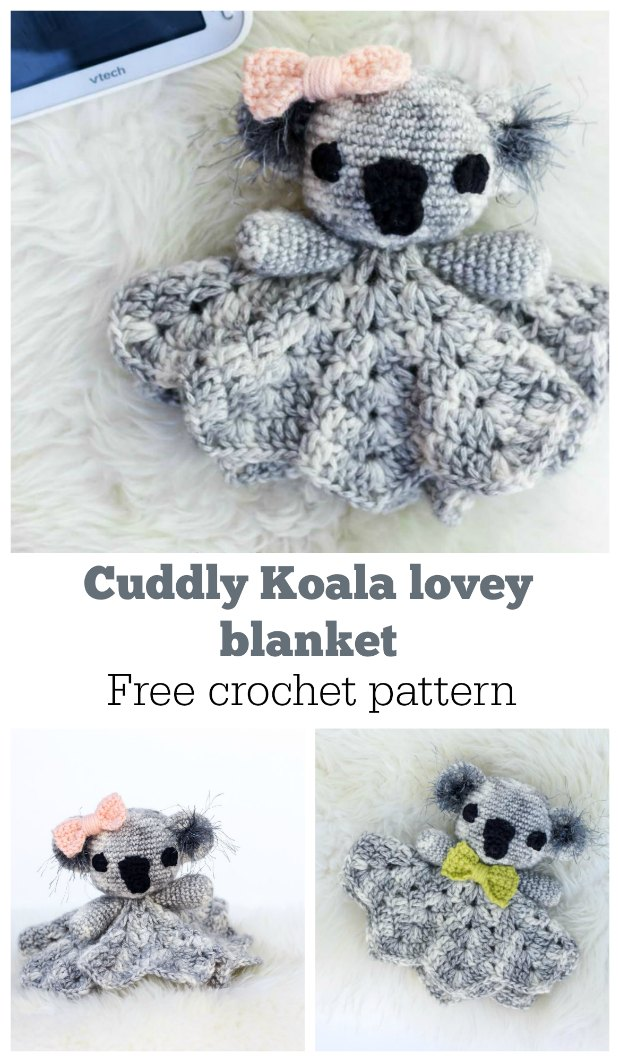 Free crochet pattern for this cuddly Koala lovey comfort blanket and toy.