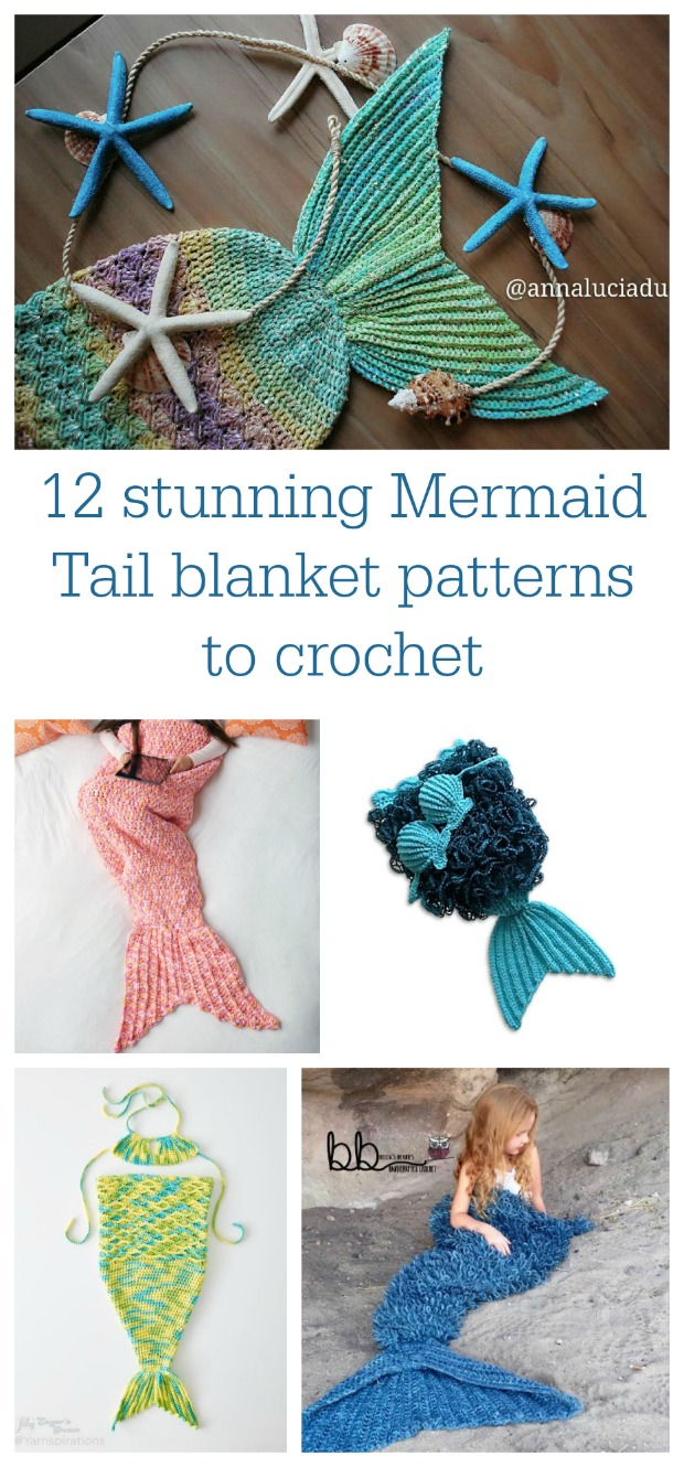 Stunning mermaid tail blanket patterns for babies, teens and adults.