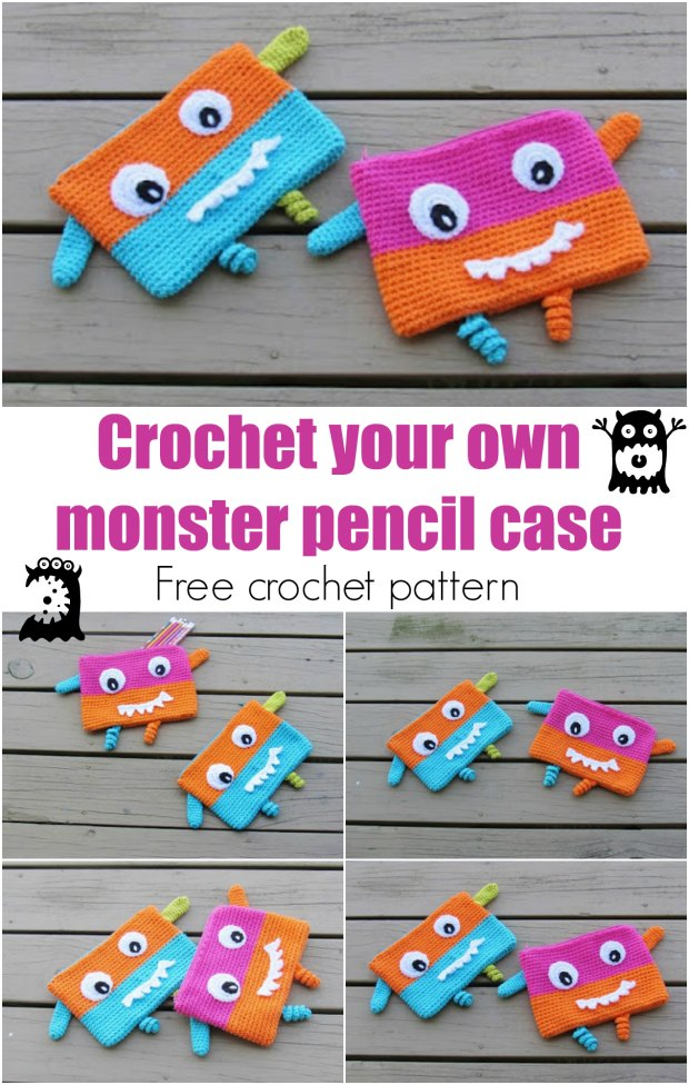 Monster Pencil Case or Pouch, Free Crochet Pattern, Back to School
