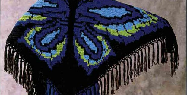 Free crochet pattern for this stunning butterfly shawl. Would look amazing in a shimmering yarn.