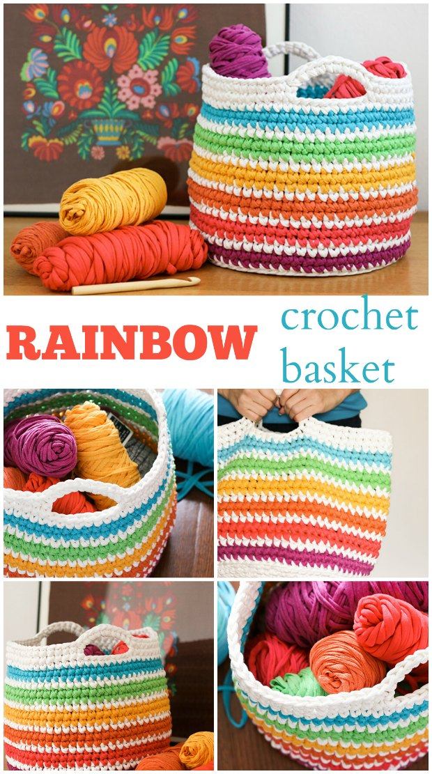 How to crochet this striped basket using t-shirt yarn, or ribbon yarns.