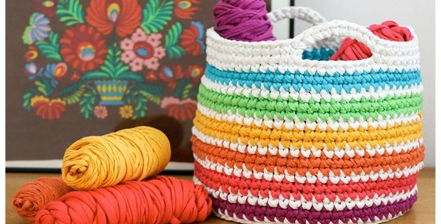 crochet basket pattern rainbow