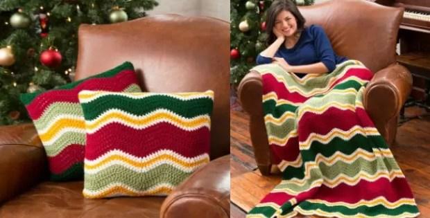 crochet chevron pillows and blanket set