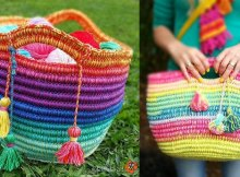 Crochet Rope Basket Spectacular Rainbow Pattern