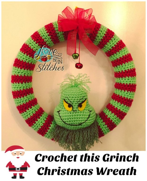 Free crochet pattern, Grinch Christmas Wreath. Quick and easy to make.