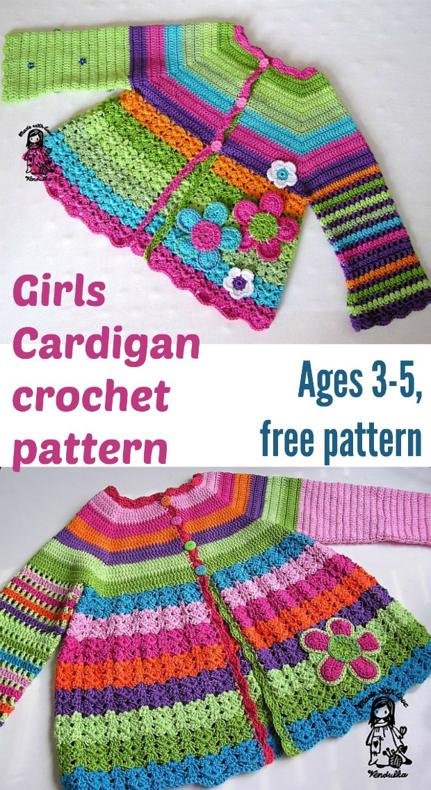Girls cardigan free crochet pattern. Sizes 3-5 years. So bright and colorful and I love the flowers too