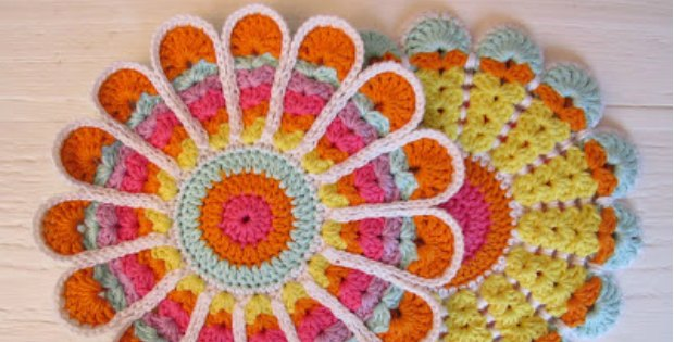 crochet flowers vintage pot holder
