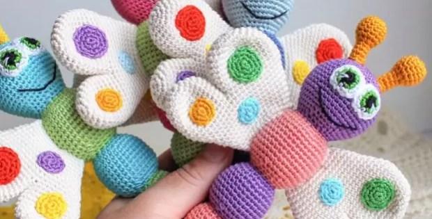 Butterfly Baby Rattle - Free Crochet Pattern - Baby Crochet - Amigurumi
