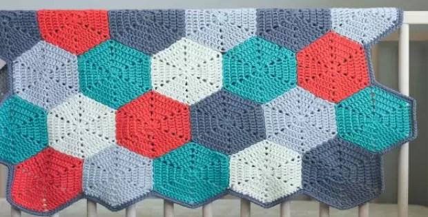 Crochet Afghan Blanket Hexagon Pattern