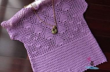 Esquema Blusa crochet lila