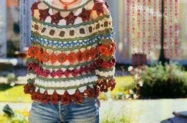 Esquema Blusa de flores Crochet