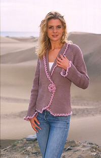 drops vintage look cardigan with rose embellishment