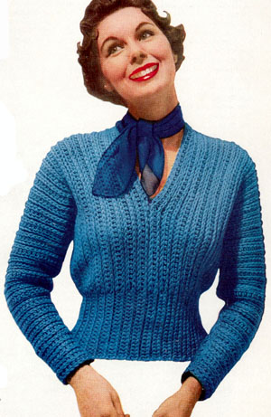 vintage slipon sweater crochet bulky yarn free pattern