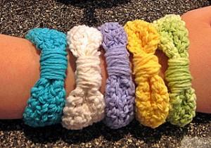 crocheted ribbon bangles