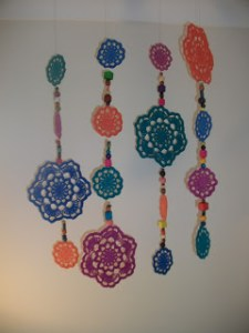 crochet doily mobile