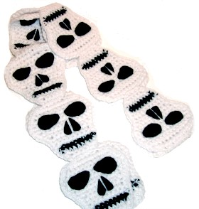 crocheted skull scarf
