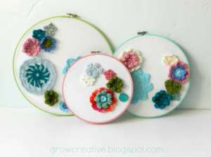 crocheted flower hoops wall decor