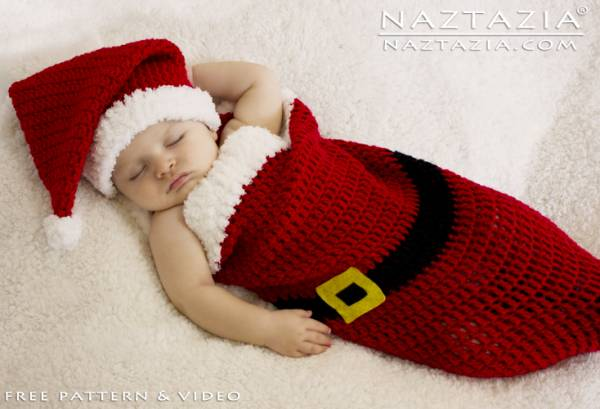 Free Knitting Pattern Baby Cocoon And Hat : Free Pattern   Santa Baby Cocoon   Crochet