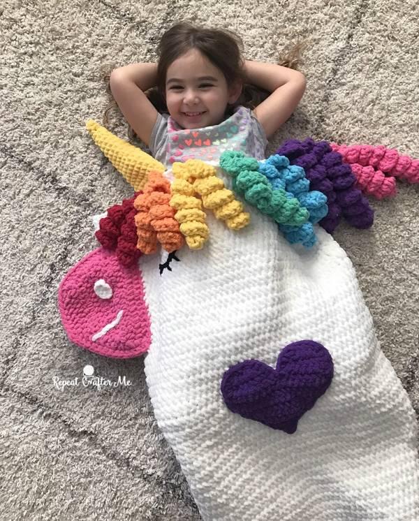 Unicorn Snuggle Sack Crochet Pattern