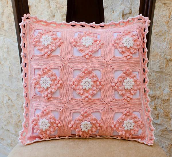 Crochet Rose Granny Square Cushion Pattern Craft Gossip
