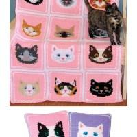 Sweet Kitty Afghan & Pillows Crochet Pattern