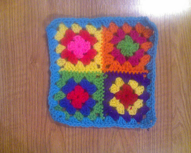 Crochet Square A-2 after joining seams and weaving in ends
