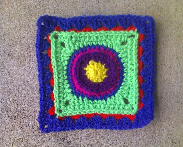 Crochet square E-6 for a granny square blanket