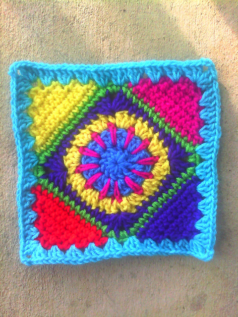granny square with a crochet circle center