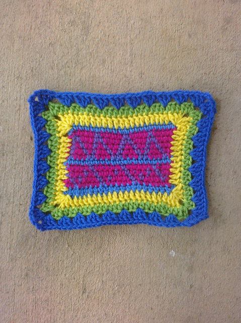 Crochet Square D-5 with a crochet border