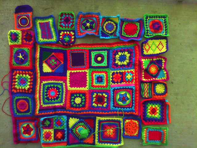 All the squares so far of the afghan that has eluded me