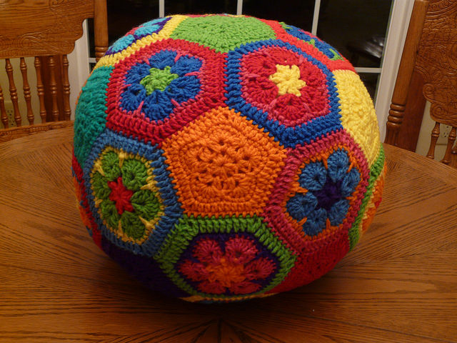 One more view of the crocheted soccer ball
