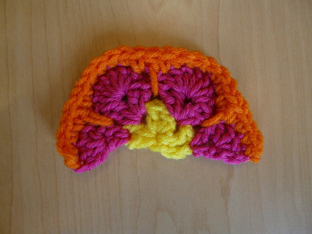 african flower half crochet hexagon