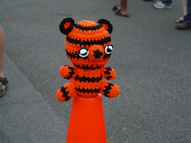 crochetbug, crochet tiger, amigurumi tiger, crochet toy, diy toy, washington dc, fourth of july, traffic cone