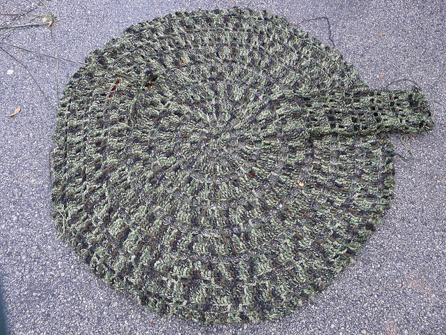 Teddy's crochet camouflage circle jacket with one sleeve done