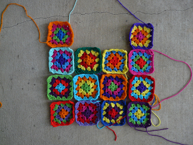 The go-go granny dress begins to take shape with the  first 14 granny squares ready for adventure