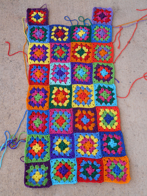 The front of the front panel of my go-go granny dress after blocking..