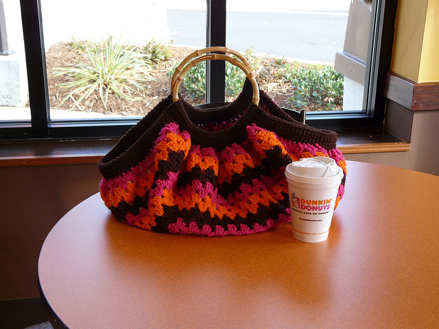 My crochet bag ringing in the new year with a cup of coffee