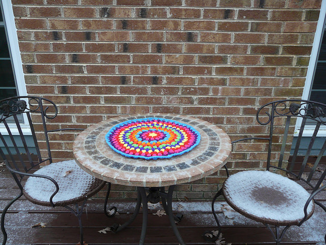 Using my mindful mandala to decorate the outdoor office table even as snow is interrupting my access to the best daylight