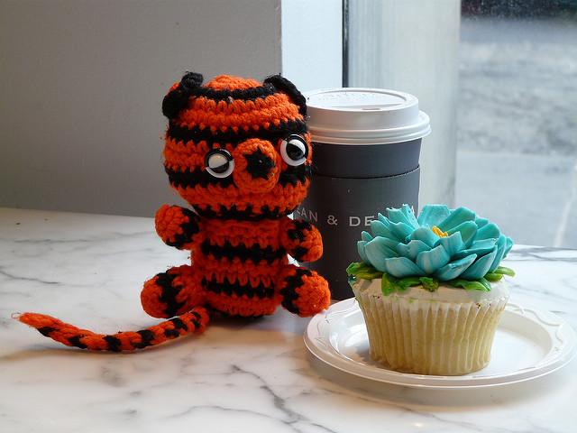 crochet tiger at Dean & Deluca