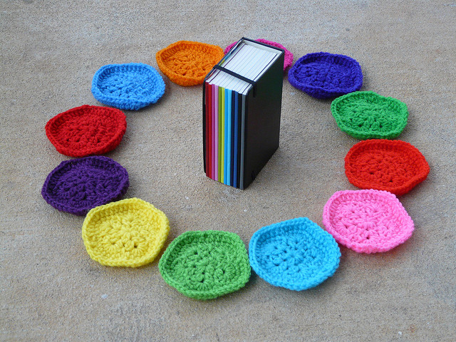 Moleskine calendar and crochet pentagons
