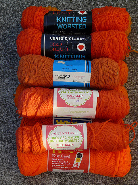 orange vintage yarn