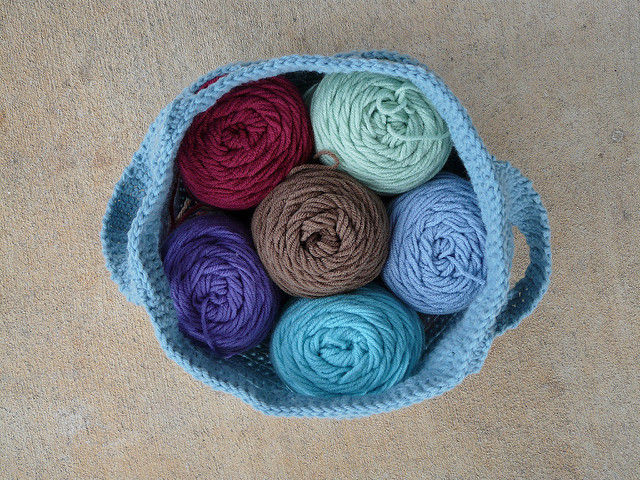 crochet bag with yarn stash