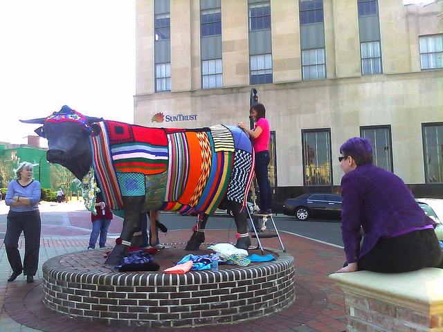 yarn bombing major bull in downtown durham, north carolina