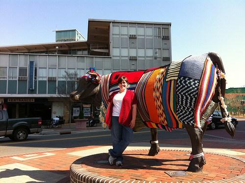 crochetbug, crochet, yarn bomb, durham, north carolina, durham bull, downtown durham