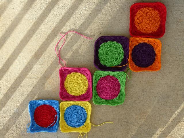 seven crochet squares for a crochet blanket