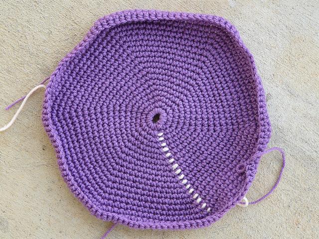 a crochet hexagon bottom of a future crochet bag