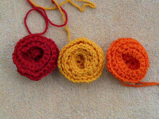 wool crochet roses