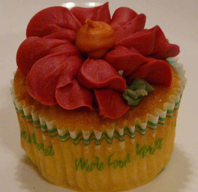 flower frosted cupcake