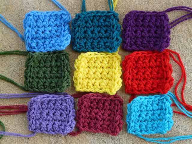 nine crochet squares